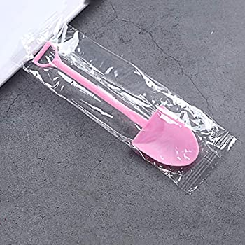 YANCAI 100 Pcs Colorful Mini Shovel Shape Spoons,Disposable Plastic Ice Cream Dessert Pudding Yogurt Sugar Shovel Spoon - 4.7 Inch Pink