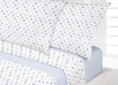 Manterol Juego de sábanas Estrellas para Cama de 105 cm 3 Piezas (Azul)
