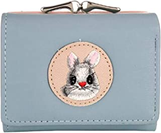 VALICLUD Light Blue Cute Embroidery Rabbit Purse Short Coin Bag Buckle Small Wallet Girls Fashion Portable Change Purse