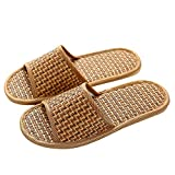 Delleu Unisex Haus Flachs Bambus Stroh Rutschen Open-Toe Hausschuhe Flip Flop Slip on Bath Spa Sommer Sandale Leichte Schuhe