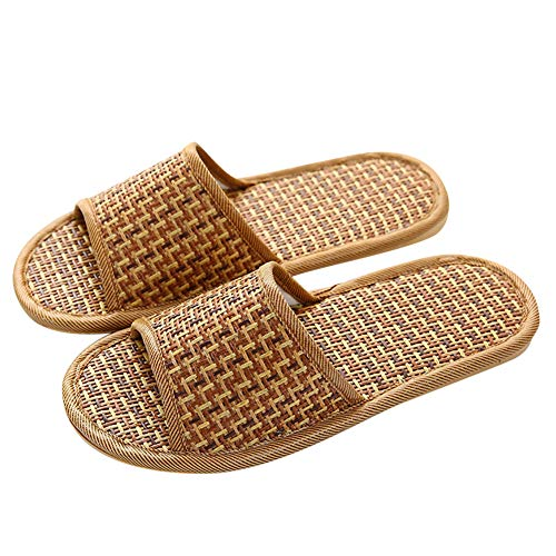 Delleu Unisex House Flax Bamboo Straw Slides Open-Toe Slippers Flip Flop Slip on Bath Spa Summer Sandal Lightweight Shoes