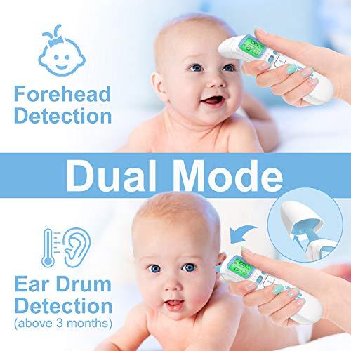Termometro per Orecchio e Fronte, UNTIRE Digital Termometro a Infrarossi per neonati, bambini e adulti con lettura immediata, allarme febbre, Misurazione senza contatto