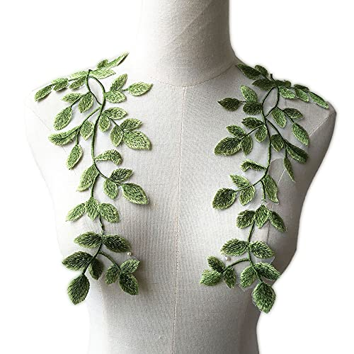 Mirror Pair Green Forest Leaves Applique Lace Vine Motif Trims Embroidery Vine Sewing Patches for Craft Projects Lyrical Gown
