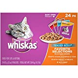 WHISKAS TENDER BITES Favorite Selections Variety Pack Wet Cat Food (Pack of 24)