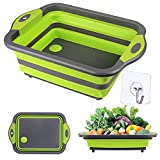 GCBTECH Faltbare schneidebrett, Multifunktion spülschüssel Ablaufkorb zum Waschen und Lagern von Obst und Gemüse für Camping zubehör wohnmobil küchen Picknick Grill Gadgets (Grün)