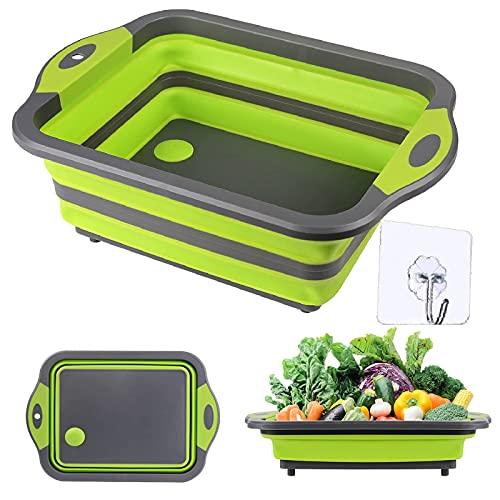 GCBTECH Tabla de cortar plegable, cuenco multifunción para lavar y almacenar frutas y verduras, accesorio para camping, cocina, picnic, barbacoa, color verde
