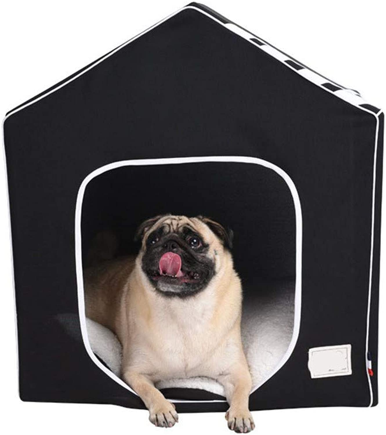 DYEWD super soft cotton velvet and PP cotton kennel,removable and washable closed,house shape kennel,black,large