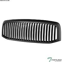 Topline Autopart Matte Black Vertical Front Hood Bumper Grill Grille ABS For 06-08 Dodge Ram 1500/06-09 2500/3500