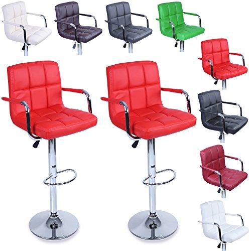 TRESKO® Lot de 2 Tabourets de Bar Chaise de Bar Chaise Lounge avec Dossier et accoudoir, 8 Couleurs différentes, chromé, Rotation à 360°, Hauteur réglable de 62,0 à 82,5 cm (Rouge)
