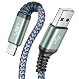 2-Pack iPhone Charger Cable, LISEN MFi Certified Lightning Cable (6ft / 1.8m), Nylon Braided USB Fast Charging Cord Compatible with iPhone 12 Pro Max/11 Pro/X/Xs Max/XR/8 Plus/7/6 Plus/SE, iPad, iPod