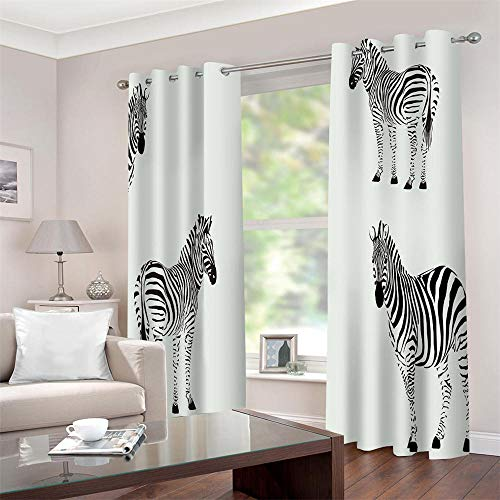 Gordijnen ondoorzichtig met 3D zebra thermogordijn gordijnen isolerend 2 stuks raamdecoratie voor kinderkamer woonkamer slaapkamer
