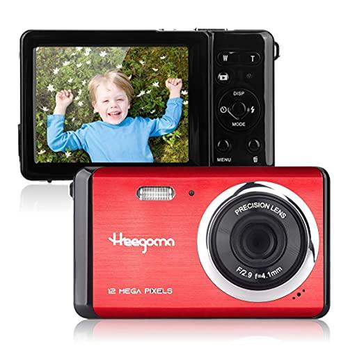 ミニデジタルカメラ、Heegomn 12MP HD 2.8インチTFT LCDデジタルカメラ、学生用カメラ8倍デジタルズーム付き初心者カメラ、旅行、キャンプ、誕生日、クリスマスギフト用の充電式バッテリー (赤)
