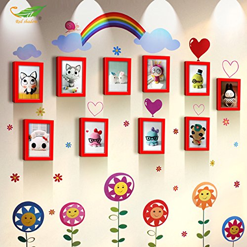 Unbekannt Cadre photo * 10 Boîte 7 cm Cadre en bois massif mural créative américaine rural Salon Cadre photo mural photo murale Bijoux Boîte, la combinaison de rouge.