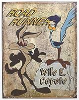 Roadrunner & Wyle E ブリキ看板 輸入品 32×40cm ビンテージ風