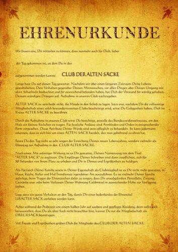 """Urkunde Poster\""""Club der Alten Säcke\"""" ca. 40 x 60 cm"""