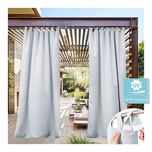 GDMING Outdoor Curtains For Patio UV Protection Waterproof Privacy Divider Ceiling Awning Windshield For Terrace Balcony Porch Gazebo Deck Pergola Cover 2 Panel, 32 Sizes