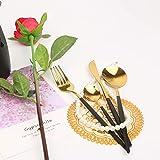KAUQI Juego de cubiertos de acero inoxidable chapado en oro negro de 24 piezas, juego de cubiertos de oro negro de 24 piezas,juego de cubiertos de oro negro,servicio de utensilios de cocina para 6