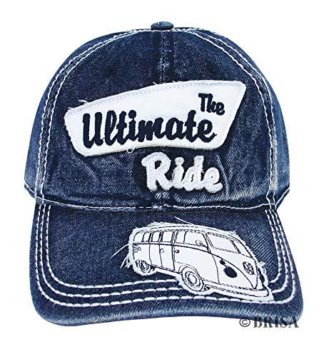 BRISA VW Collection - Volkswagen Retro/Vintage Baseball-Cap-Military-Kappe-Mütze-Cappy Snapback mit T1 Bulli Bus Motiv, VW-Fan-Souvenir/Geschenk-Idee (Jeansblau)
