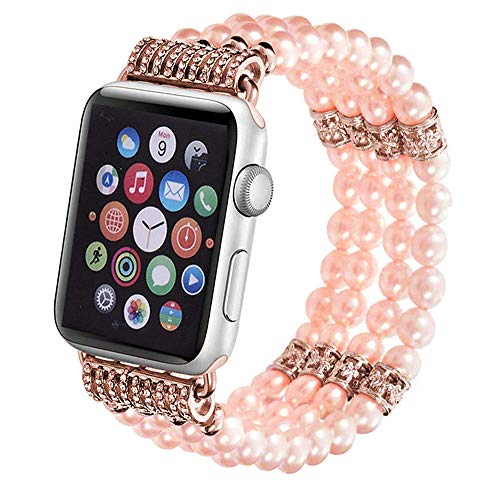 Aspack Replacement Bands Compatible Apple Watch Band 38mm/42mm iWatch Band Women Fashionable Faux Pearl Bracelet Beaded for Apple Watch Series 4 Series 3 Series 2 Series 1 Version (Pink.B, 38mm)