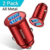 [2-Pack] AINOPE Car Charger, 4.8A All Metal Car Charger Adapter Dual USB Cigarette Lighter USB Charger Mini Flush Fit Compatible with Xs max/XR/x/7/6s, Air 2/Mini 3, Note 9/Galaxy S10/S9/S8 - Red