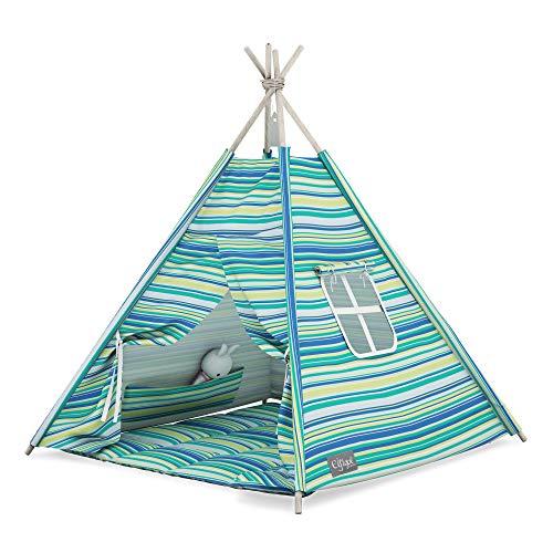 Elfique - Tienda de campaña para niños, con techo y rayas azules y verdes
