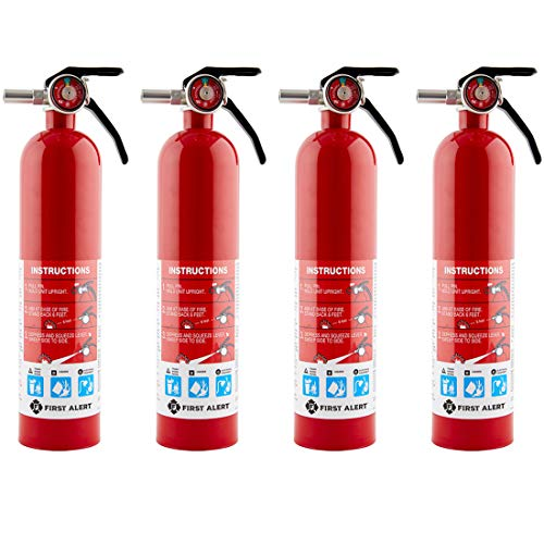 First Alert HOME1 Rechargeable Home Fire Extinguisher 4-Pack, Red | UL Rated 1-A:10-B:C | All-Metal Fire Extinguisher with Pull Pin & Safety Seal | U.S. Coast Guard Approved for Marine Use