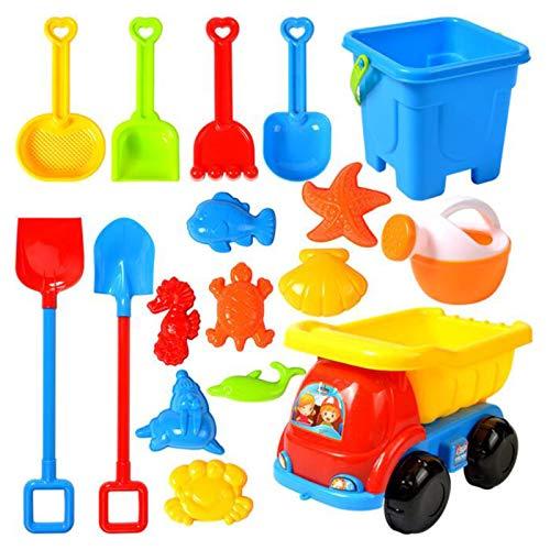 Sandspielzeug Junge Set, Strandspielzeug Kinder, Strand Spielzeug Sand Set, Sandkasten-Eimer - Formen, Spaten, Harke, ummer Outdoor-Spielzeug Spielzeuglastwagen,Sandkasten-spielzeug (17 teiliges-G)
