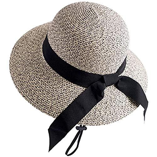 N\A Sombrero de verano para mujer, sombrero de playa, sombrero de paja Panamá Fedora pico Cap ala ancha protección UV señoras M sombrero de verano