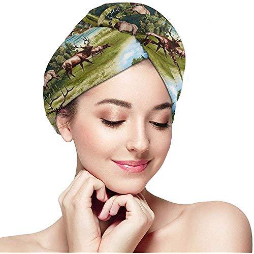 Xuetu Wildlife Elk Hair Trockentuch, Dry Hair Cap, Schnelltrocknender Haartuch-Wickelturban mit Knopf, gewickelte Badekappe