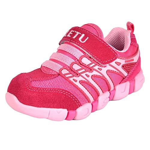 LABIUO Chaussures de Sport Enfant Garçon Fille Baskets Mode Chaussures de Running Chaussures de Sport Confortable et Respirant Enfants Competition Entrainement Chaussures 4-11 Ans(Rose,8.5-9 Ans)