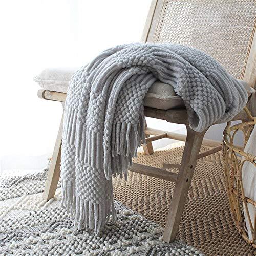 BZRXQR Versátil Nordic Manta Hecha Punto Throw Sofá Cama Colchas Siesta Manta for Dormir Decorativo Wrap Alfombra con la Franja de Manta sofá (Color : Grey, Size : 127x170cm)