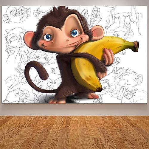 KWzEQ Leinwanddrucke Niedlicher AFFE Wandkunst Bild Wohnzimmer Wohnkultur50x75cmRahmenlose Malerei