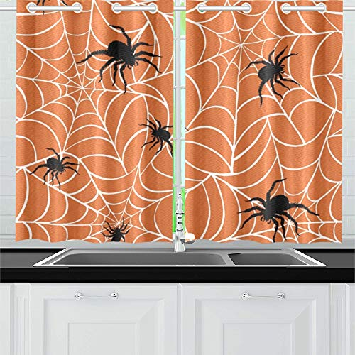 JINCAII Spinnen auf Netzen auf Küchenvorhängen Fenstervorhang-Stufen für Café, Bad, Wäscherei, Wohnzimmer Schlafzimmer 26 x 39 Zoll 2 Stück
