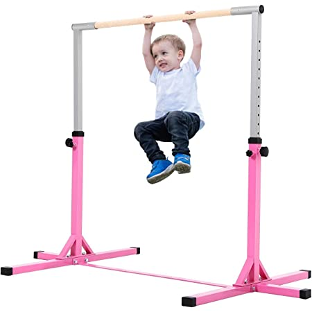 220 lbs Weight Capacity Home Practice La-Fete Gymnastics Junior Training Bar Suit for Indoors Stainless Steel Professional Kids Training Bar 36-59 Height Adjustable 1-4 Levels