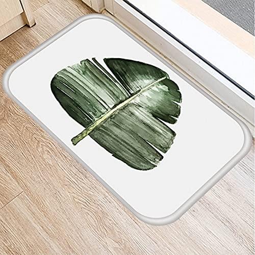 OPLJ Felpudo con patrón de Plantas de Hojas Verdes, Felpudo de Alfombra Antideslizante, Alfombra de Piso para Cocina y Sala de Estar al Aire Libre A3 40x60cm