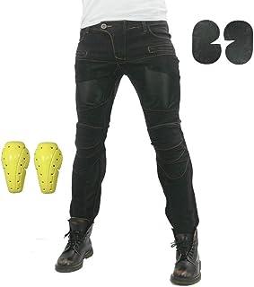 Pantalones Vaqueros Para Montar En Moto Para Hombre, Pantalones De Motocicleta Elásticos Y Transpirables Con 4 Almohadillas Protectoras Desmontables, Pantalones De Motocicleta Anti Caída (Negro,L)