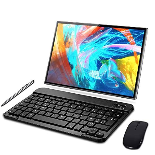 Tablet 10 Pulgadas 3GB RAM 32GB ROM Android 10 Pro Tablets con Quad Core | Cámara Dual 5MP + 8 MP | Doble SIM | Batería 8000mAh | WiFi | Bluetooth | MicroSD 3-128GB, con Teclado y Ratón,Gris