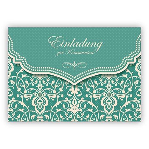 Hübsche Einladungskarte mit Vintage Damast Muster in edlem Hellblau Türkis für Mädchen: Einladung zur Kommunion • schöne Premium Grusskarte mit Umschlag für beste Freunde