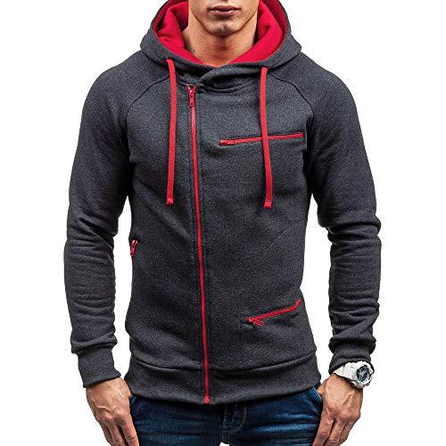 Homme Veste, Manadlian Chemisier Jacket de Sport à Capuche Sweats à Capuche Zipper Slim Hoodies pour Hommes Sweat-Shirts (Medium, Gris-1)