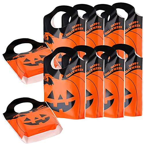 100 Pieces Halloween Candy Bags,Halloween Lantern Pumpkin Goodie Bags Trick or Treat Bags Pumpkin Face Candy Bags for Halloween Party Favors Supplies