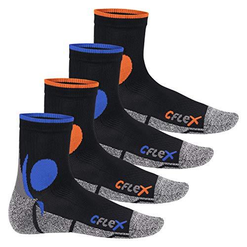 CFLEX Damen und Herren Running Funktions-Socken (4 Paar) Laufsocken - Schwarz-Mix 39-42