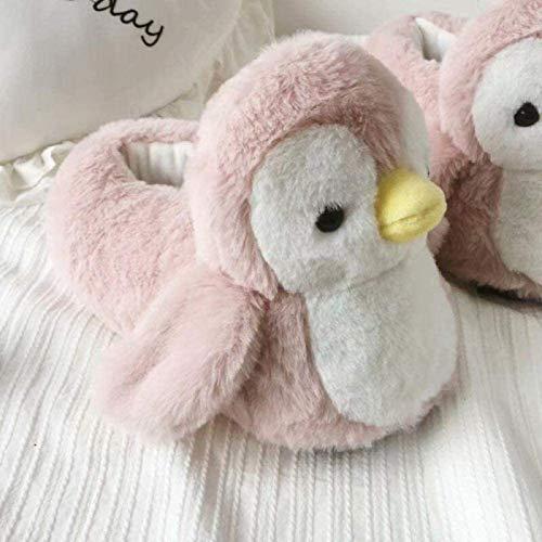 DINEGG Süße und niedliche kleine Pinguin-Cartoon-Baumwoll-Slipper-Tasche mit Winter innen Dicker unteren rutschfesten warmen Plüsch-Baumwoll-Schuh-Haar-Mopp-Rosa-Pinguin 35-38 YMMSTORY