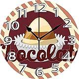 BeeTheOnly Reloj de Pared Bon Appetite Tipografía de Chocolate con Rayas paralelas de Caramelo de Cacao Vintage Sienna Quemado Granate Crema Dormitorio Sala de Estar Cocina Reloj para el hogar 9.5in