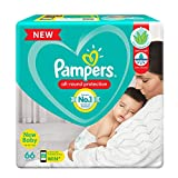 Pampers All round Protection Pants, New Born, Extra Small size baby diapers (NB/XS), 66 Count, Anti Rash diapers, Lotion with Aloe Vera