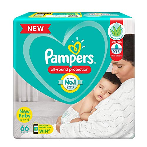 Pampers All round Protection Pants, New Born, Extra Small size baby diapers (NB,XS) 66 Count, Anti Rash diapers, Lotion with Aloe Vera