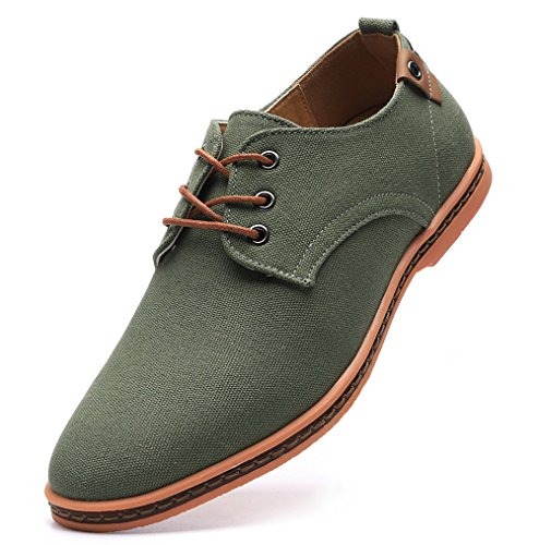 DADAWEN Men's Casual Canvas Oxfords Walking Shoes Sneakers Lace Up Dress Shoes Green US Size 10.5