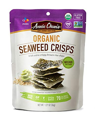 Annie Chun's Organic Seaweed Crisps, Wasabi, Non-Gmo, Gluten Free, Oven-Baked, 1.27-Oz , Pack of 10