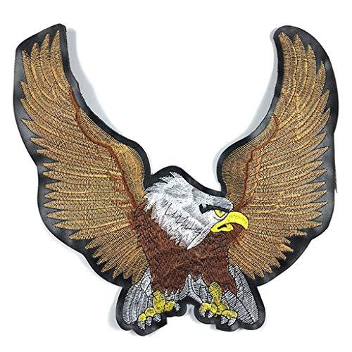 JIACUO Geborduurde lederen Biker Patches voor Jeans Mannen Jas Kleding Eagle Animal Punk Stijl Patch Stickers op Motorfiets Patches