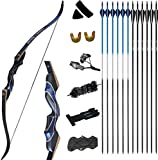 D&Q Archery Recurve Bow and Arrow Set for Adults Men Women Beginner 30-50 lbs Hunting Takedown Long Bow Kit with Carbon Fiberglass Arrows Right Hand (30 LBS)