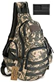 ArcEnCiel Tactical Sling Pack Military Molle Chest Crossbody Shoulder Bags Motorcycle Bicycle Assault Range Diaper Day Backpack with Patch (ACU Camouflage)